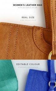 item description leather woman bag