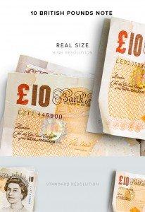 item description money 10 notes british pounds