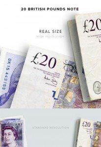 item description money 20 notes british pounds