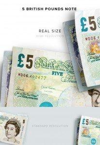item description money 5 notes british pounds