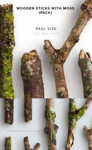 item description wooden sticks with moss pack
