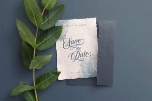 wedding invitation handmade paper mockup example