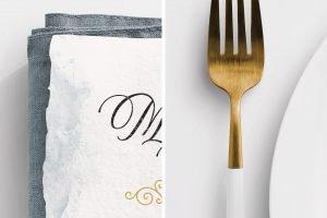 wedding menu handmade paper mockup closeup