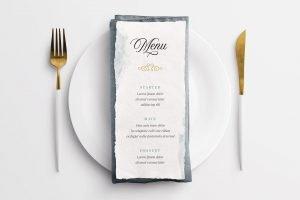 wedding menu handmade paper mockup example