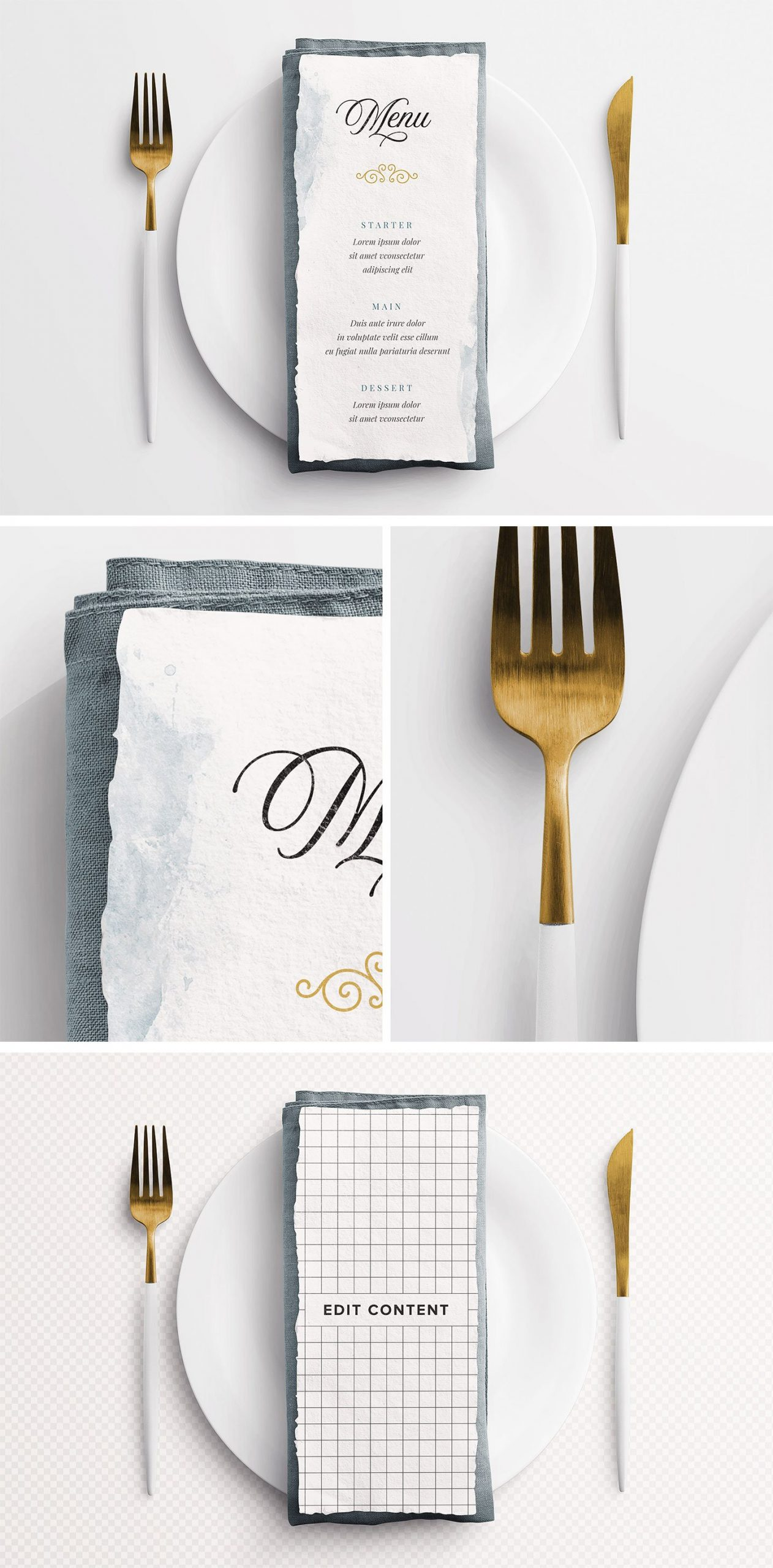 wedding menu handmade paper mockup customscene