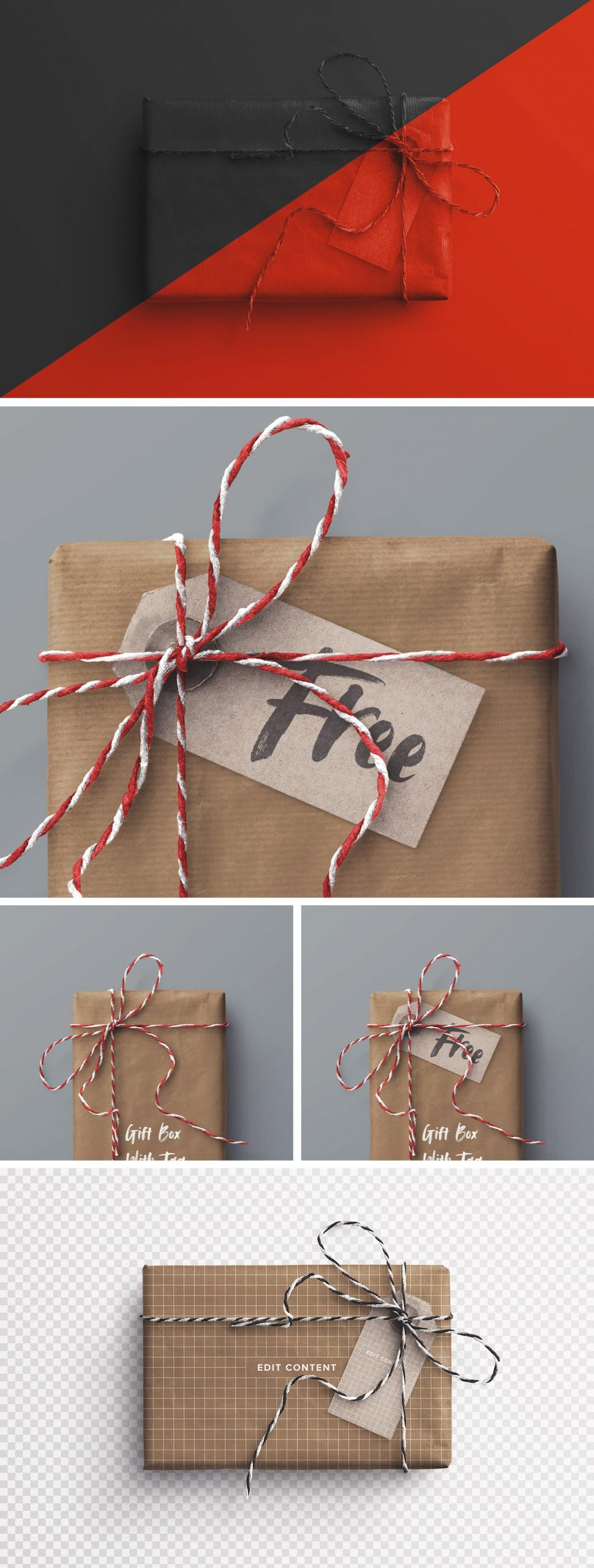 gift box and tag psd mockup