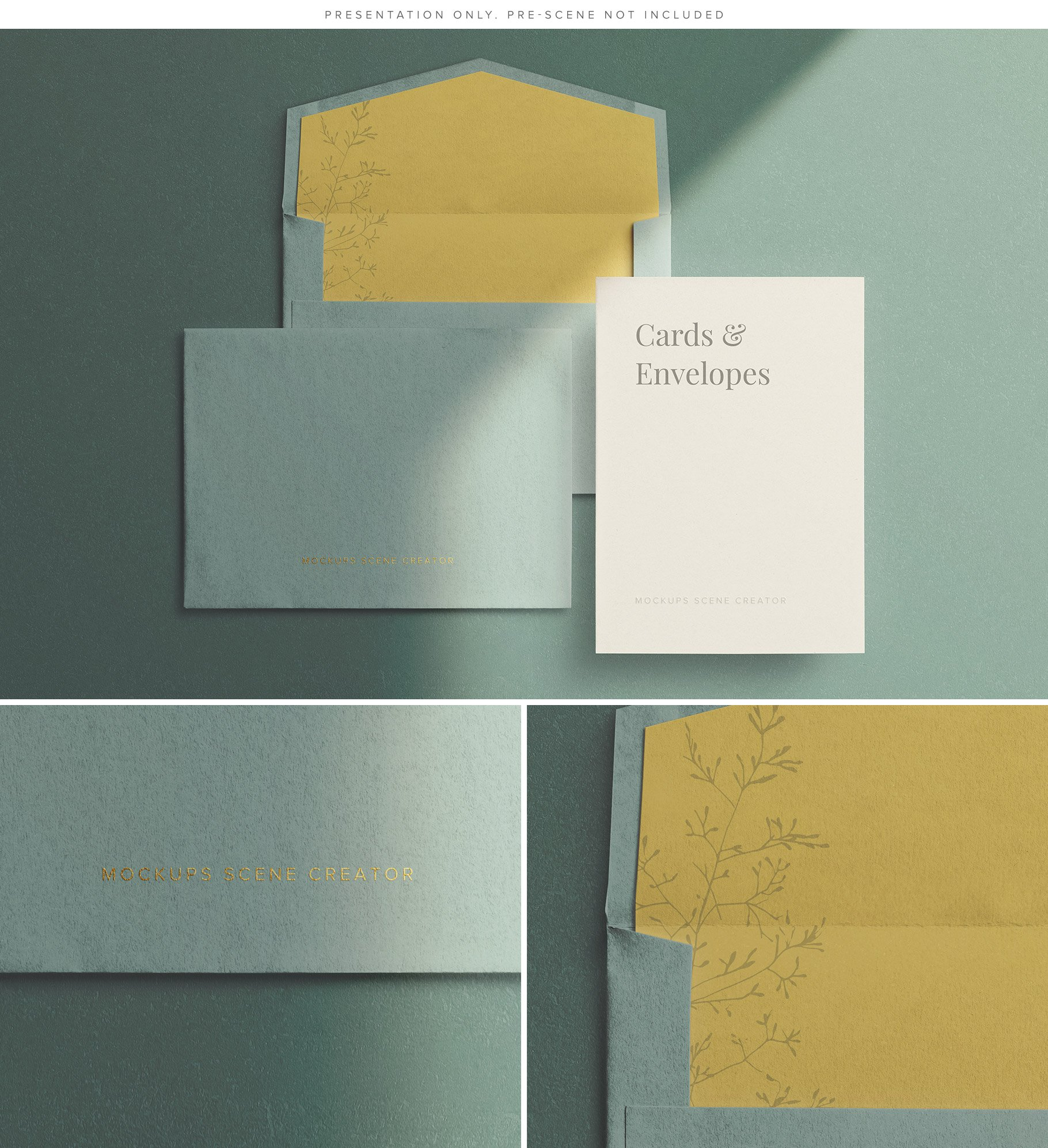 cards and envelopes mockup scene creator example 2 customscene