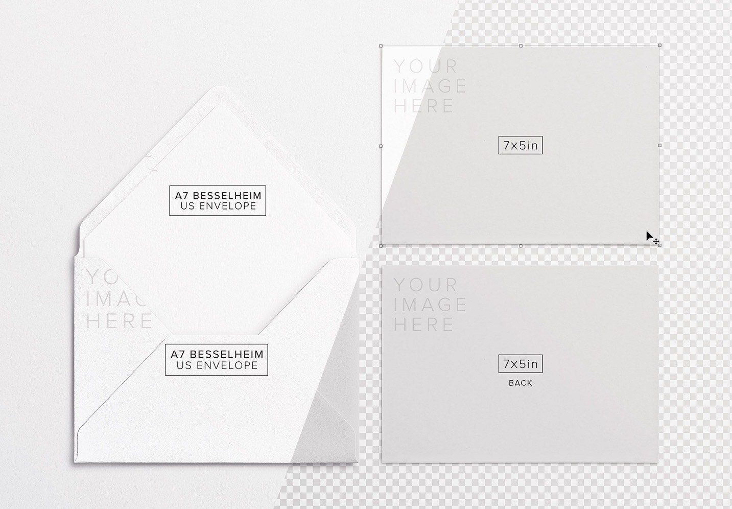 5x7in card front and back w envelope mockup image01