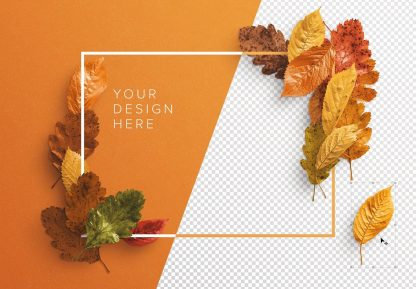 autumn leaves frame mockup image01