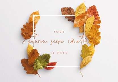 autumn leaves frame mockup image02