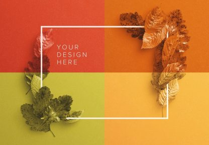 autumn leaves frame mockup image03