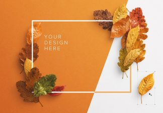 autumn leaves frame mockup thumbnail