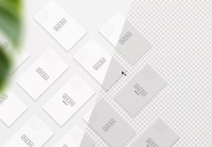 business cards mockup layout w plant image01