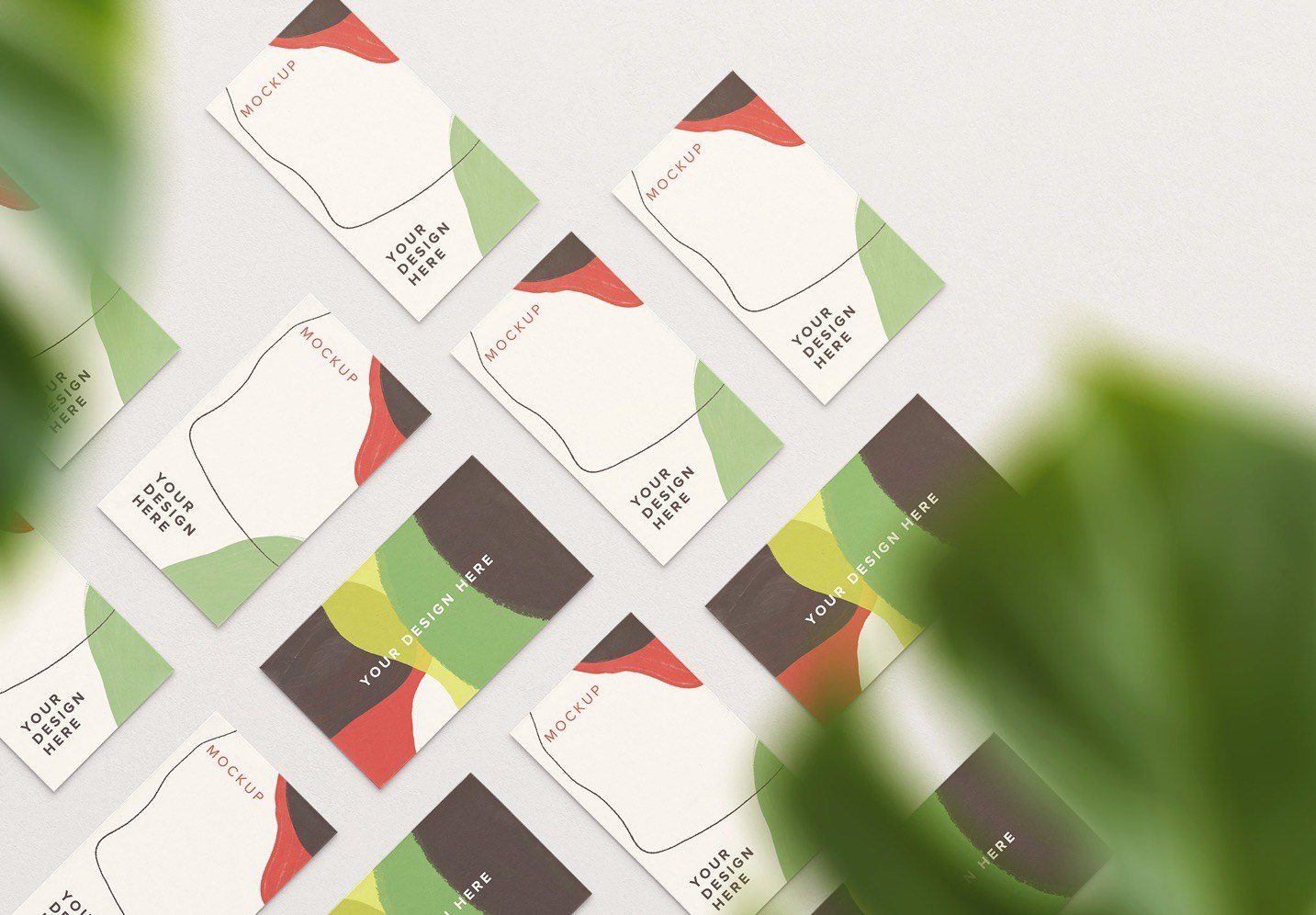business cards mockup layout w plant image03