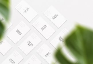 business cards mockup layout w plant thumbnail