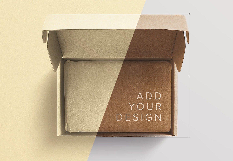 cardboard postal opened box mockup image01