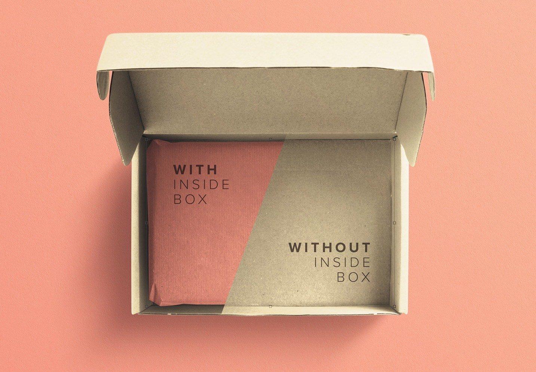 cardboard postal opened box mockup image02
