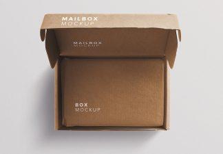 cardboard postal opened box mockup thumbnail