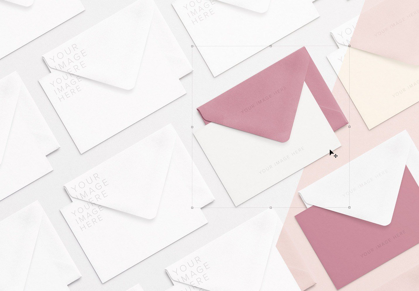 cards and envelope diagonal layout mockup 2 thumbnail