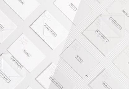 cards and envelope diagonal layout mockup image01