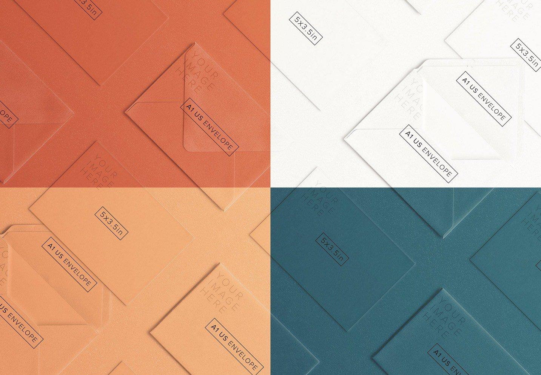cards and envelope diagonal layout mockup image02