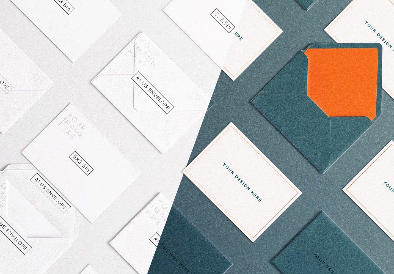 cards and envelope diagonal layout mockup thumbnail