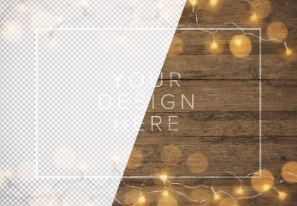 fairy lights wooden background mockup image01