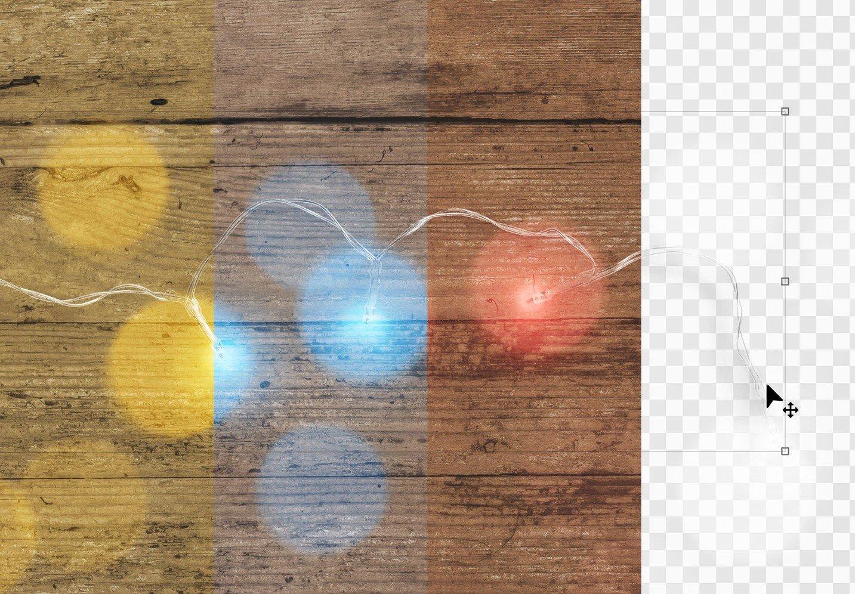 fairy lights wooden background mockup image02