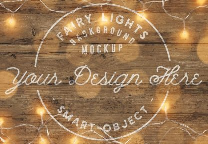 fairy lights wooden background mockup image03