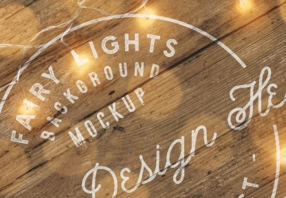 fairy lights wooden background mockup image04