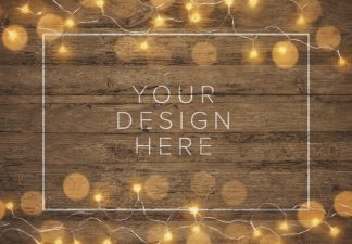 fairy lights wooden background mockup thumbnail