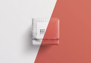 gift box mockup w twine n gift tag image01
