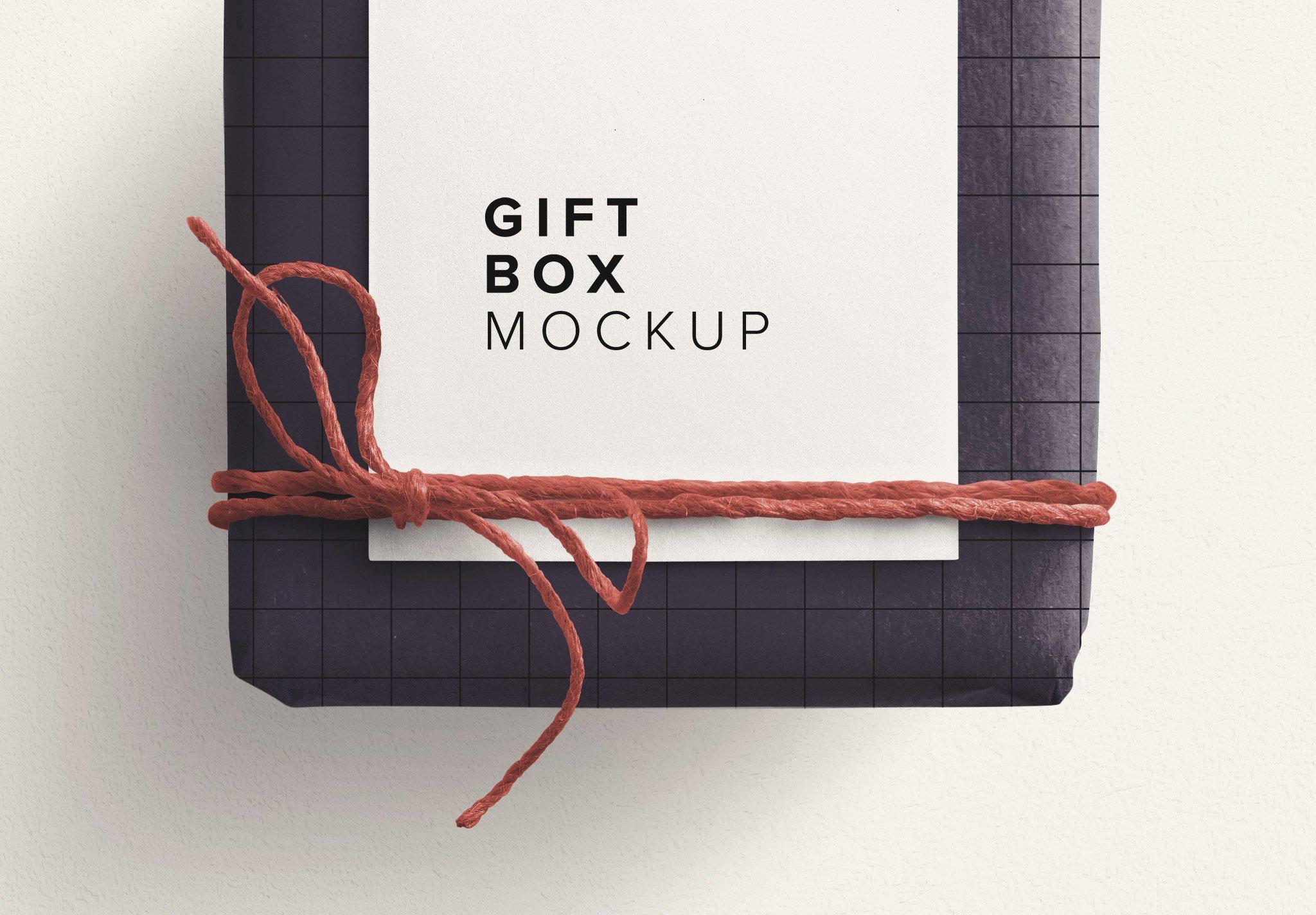 gift box mockup w twine n gift tag image03