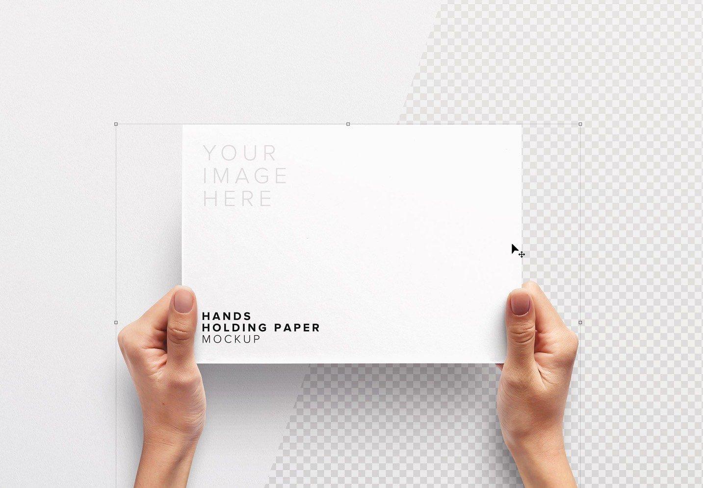 hands holding paper mockup image01