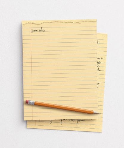 notepad teared page w pencil mockup image03