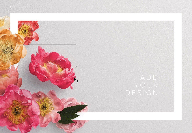 peonies flower w frame mockup image03