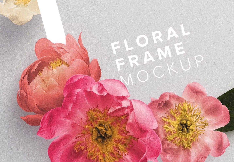 peonies flower w frame mockup image04