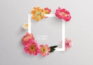 peonies flower w frame mockup thumbnail