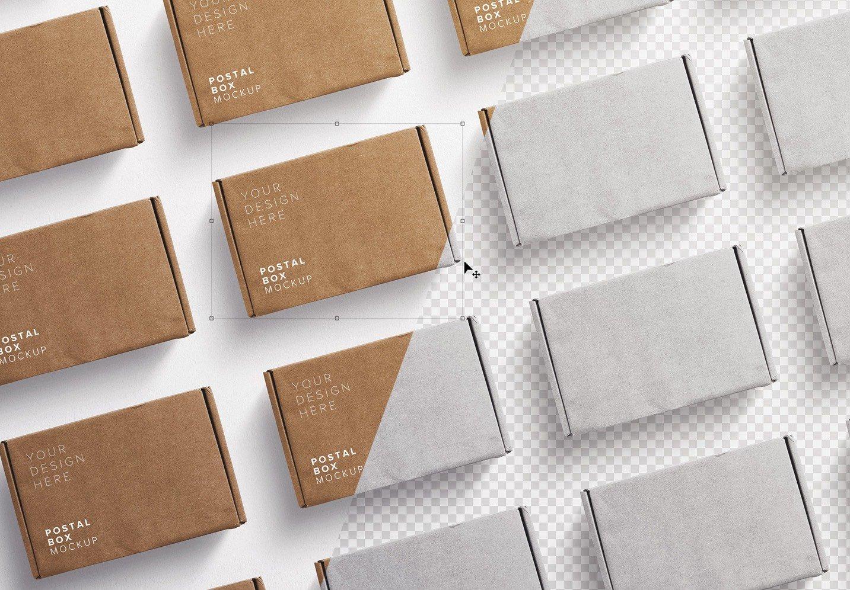 postal box mockup diagonal layout image01