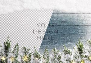 winter background w snow fir tree lights image01