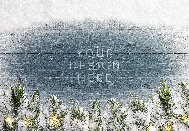 winter background w snow fir tree lights thumbnail