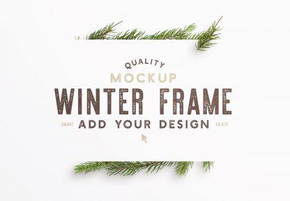 winter frame fir tree mockup image03