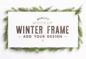 winter frame fir tree mockup image04