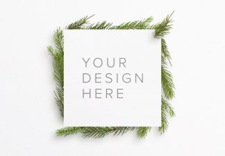 winter frame fir tree mockup thumbnail