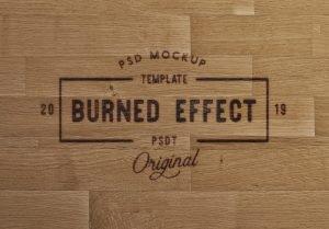 wooden table burn effect mockup image03