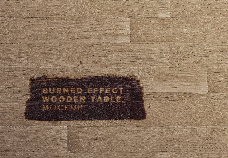 wooden table burn effect mockup thumbnail