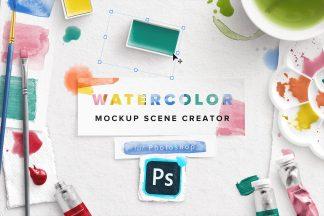 watercolor mockup scene creator photoshop 1 cover