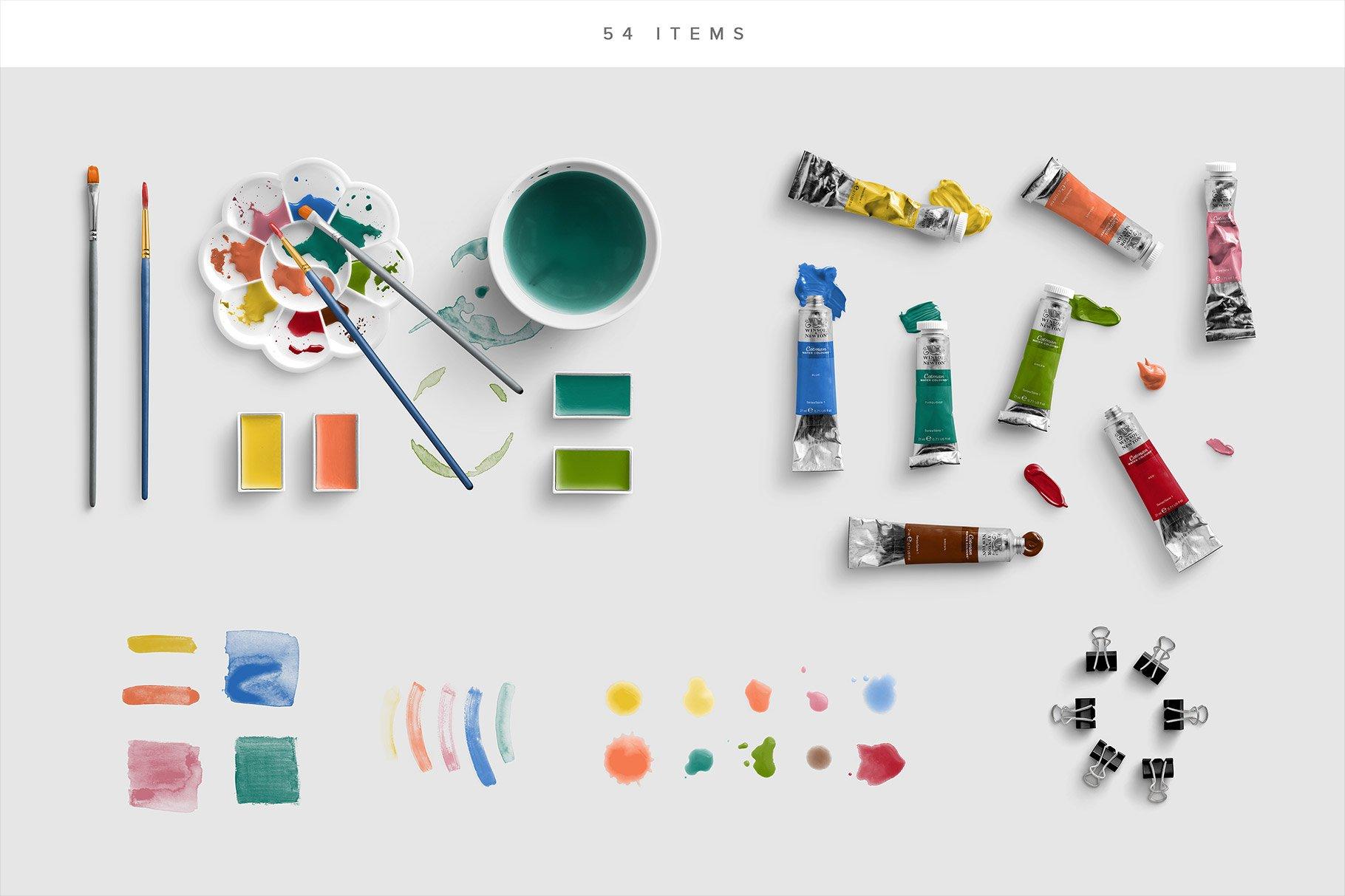 watercolor mockup scene creator photoshop 3 list of items
