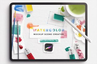 watercolor mockup scene creator procreate5 1 cover 2