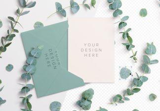 5x7in card envelope mockup w eucalyptus image01